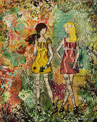 Symbolic Mixed Media - Days Like These Unique Botanical Mixed Media Artwork Of Sisters And Friends by Janelle Nichol