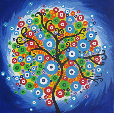 Mums Painting - Dazzle Tree by Cathy Jacobs