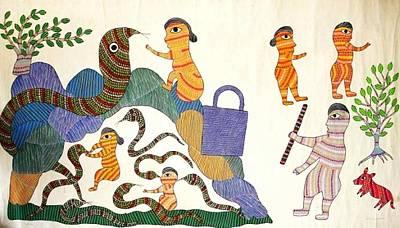 Gond Tribal Art Painting - Db 21 by Durga Bai