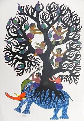 Gond Tribal Art Painting - Db 213 by Durga Bai
