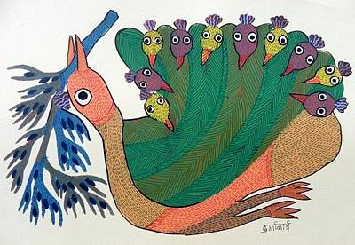 Gond Tribal Art Painting - Db 247 by Durga Bai