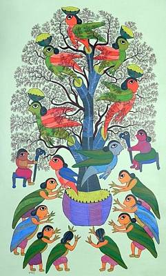 Gond Tribal Art Painting - Db 256 by Durga Bai