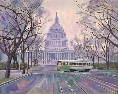 Capitol Building Painting - D.c . East Capitol. Street Car by Zachary Sasim