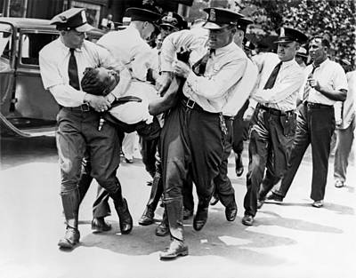 Policeman Photograph - Dc Police Evict Wwi Vet by Underwood Archives