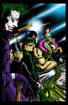 Riddler Drawing - Dc Villains by Alexiss Jaimes