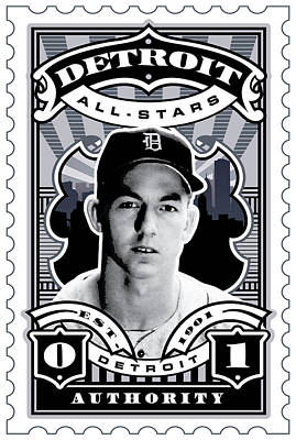 Al Kaline Digital Art - Dcla Al Kaline Detroit All-stars Finest Stamp Art by David Cook Los Angeles