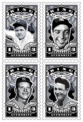 Babe Ruth Digital Art - Dcla Kings Of New York Combo Stamp Artwork 1 by David Cook Los Angeles