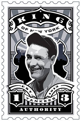 Babe Ruth Digital Art - Dcla Lou Gehrig Kings Of New York Stamp Artwork by David Cook Los Angeles