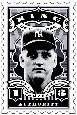 Babe Ruth Digital Art - Dcla Roger Maris Kings Of New York Stamp Artwork by David Cook Los Angeles