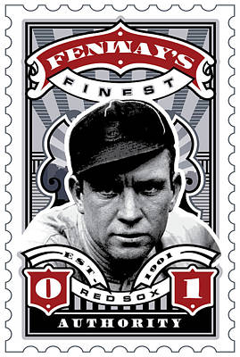 Cy Young Digital Art - Dcla Tris Speaker Fenway's Finest Stamp Art by David Cook Los Angeles