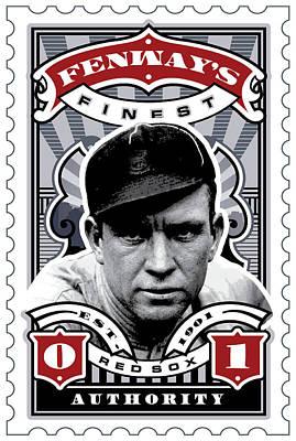 Red Sox Digital Art - Dcla Tris Speaker Fenway's Finest Stamp Art by David Cook Los Angeles