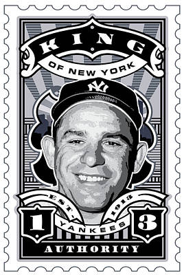 Babe Ruth Digital Art - Dcla Yogi Berra Kings Of New York Stamp Artwork by David Cook Los Angeles