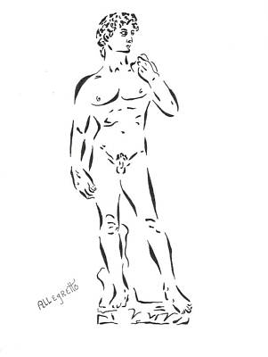 Black And White Erotic Art Drawing - De-constructing David by Pamela Allegretto