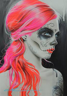 Pink Hair Painting - Sugar Skull - ' De Rerum Natura ' by Christian Chapman Art