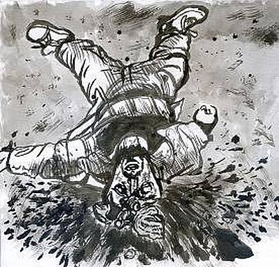 George Bush Drawing - Dead Iraqi by Mike Miller