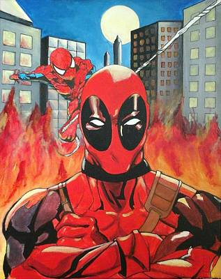 Spidey Painting - Dead Pool And Spider-man by Eric A