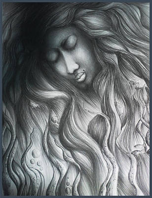 Floating Girl Drawing - Dead Water by Abhilash Am