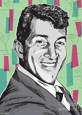 Twins Digital Art - Dean Martin Pop Art by Jim Zahniser