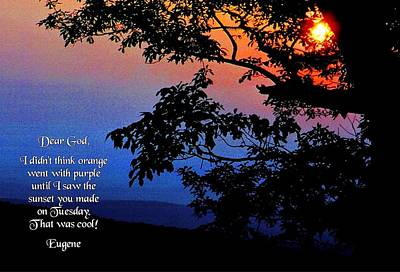 Dear God Print by Mike Flynn