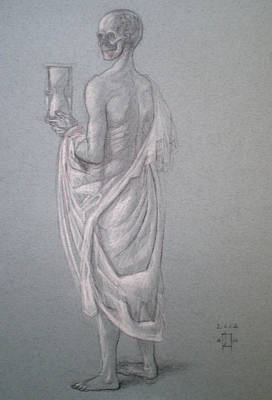 Hourglass Drawing - Death Figure With Hourglass by Paez  ANTONIO