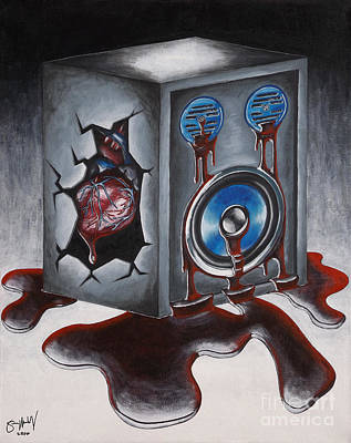 Social Commentary Painting - Death Of A Speaker by Simon Moulding