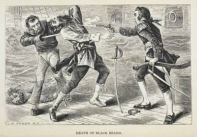Death Of Black Beard Print by British Library
