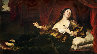 Death Of Cleopatra Vii 69-30 Bc Oil On Canvas Print by Sir Anthony van Dyck