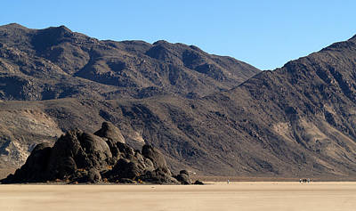 Dry Lake Racing Photograph - Death Valley Np Playa Moving Rocks 02 by Jeff Brunton