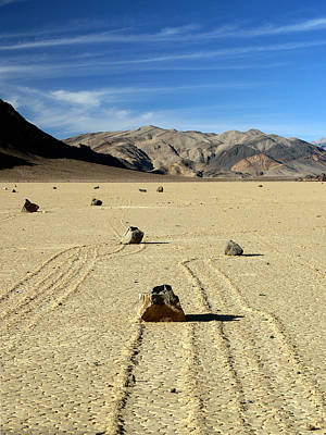 Dry Lake Racing Photograph - Death Valley National Park Playa Racing Rocks 30a by Jeff Brunton
