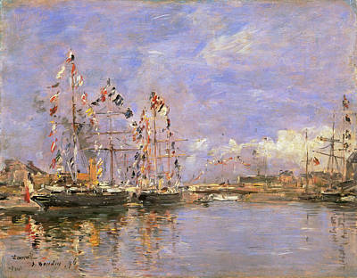 Eugene Boudin Painting - Deauville Flag-decked Ships In The Inner Harbor by Eugene Boudin