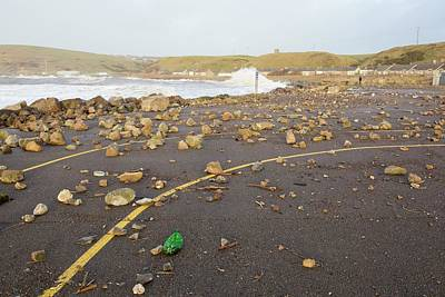 Debris Hurled Onto The Seafront Print by Ashley Cooper