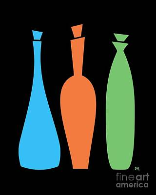 Decanters On Black Print by Donna Mibus