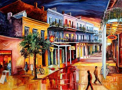 Corner Cafe Painting - Decatur At Dusk by Diane Millsap