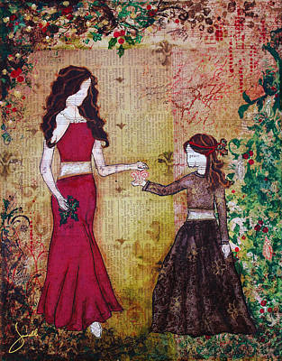 Daughter Mixed Media - Deck The Halls- A Christmas Art Print By Janelle Nichol by Janelle Nichol