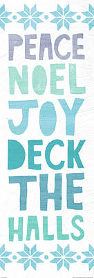 Deck The Halls Words Print by Moira Hershey