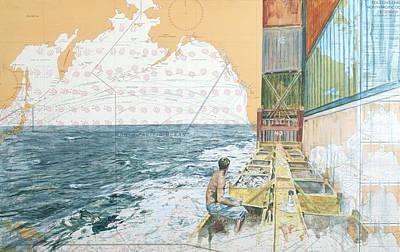 Chart Painting - Deckwork At Sea by Martin  Machado