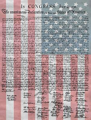 Red White And Blue Mixed Media - Declaration Of Independence by Dan Sproul