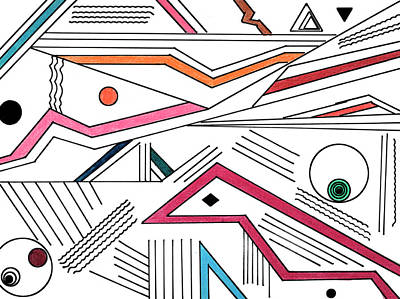 Abstract Shapes Drawing - Deco 9 by Mary Bedy