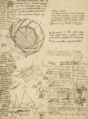 Da Vinci Reproductions Drawing - Decomposition Of Circle Into Bisangles From Atlantic Codex  by Leonardo Da Vinci