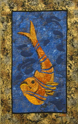 Wildlife Tapestries - Textiles Tapestry - Textile - Deconstructed Fish by Lynda K Boardman