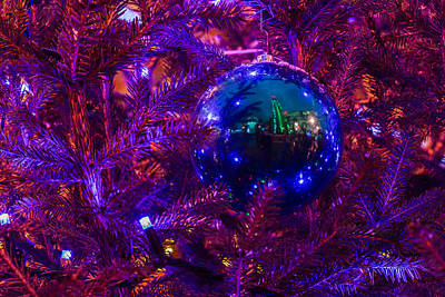 Decoration Ball On A Christmas Tree Illuminated With Red Light - Featured 3 Print by Alexander Senin