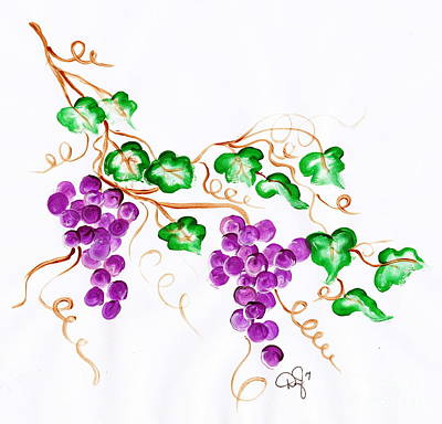 One Stroke Painting - Decorative Grapes 2 by Dale Jackson