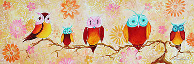 Apricot Painting - Decorative Whimsical Owl Owls Chi Omega Painting By Megan Duncanson by Megan Duncanson