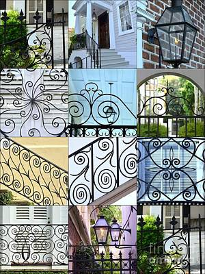 Grill Gate Photograph - Decorative Wrought Iron Collage 1 by Allen Beatty