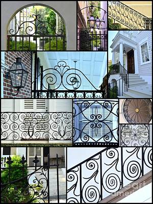Grill Gate Photograph - Decorative Wrought Iron Collage 2 by Allen Beatty