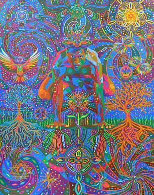 Sri Yantra Painting - Deep Consonance - 2013 by Karmym