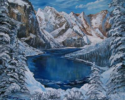 Deep Dark  And Cold Print by Sharon Duguay