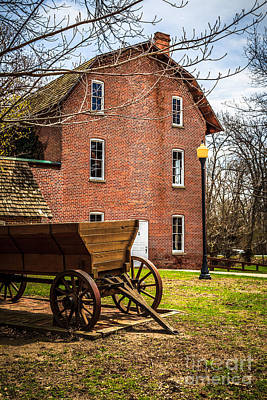 Brick Buildings Photograph - Deep River Wood's Grist Mill And Wagon by Paul Velgos
