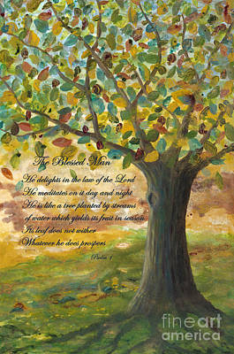 Tree Roots Painting - Deep Roots-with Scripture by Mona Elliott