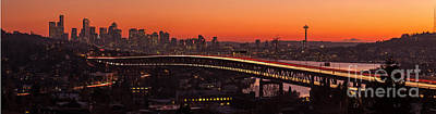 Deep Sunset Hues Of The Seattle Skyline Print by Mike Reid